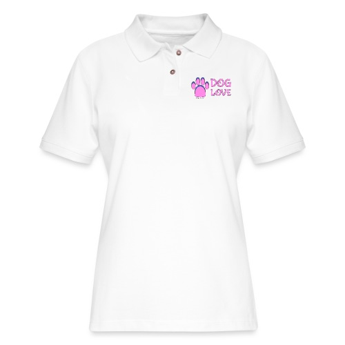 Pink Dog paw print Dog Love - Women's Pique Polo Shirt