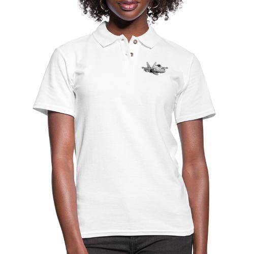Military Fighter Attack Jet Airplane Cartoon - Women's Pique Polo Shirt