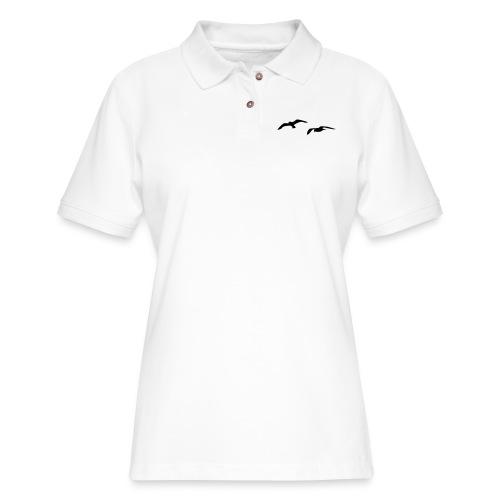 sea gull seagull harbour bird beach sailing ocean - Women's Pique Polo Shirt