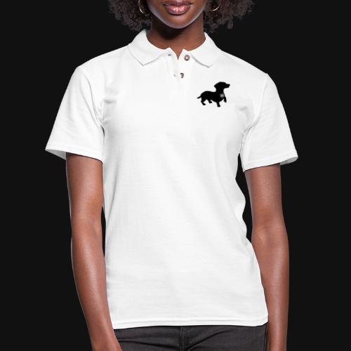 Dachshund love silhouette black - Women's Pique Polo Shirt