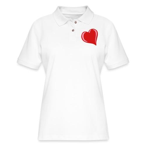 Bubble Heart - Women's Pique Polo Shirt