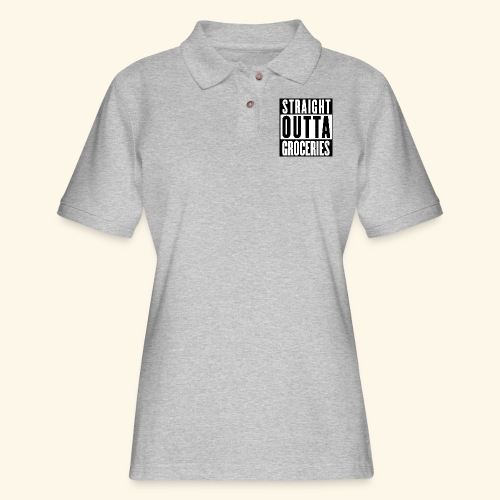 STRAIGHT OUTTA GROCERIES - Women's Pique Polo Shirt