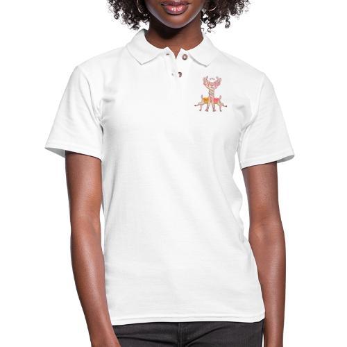 Llamas in love intertwining necks and kissing - Women's Pique Polo Shirt