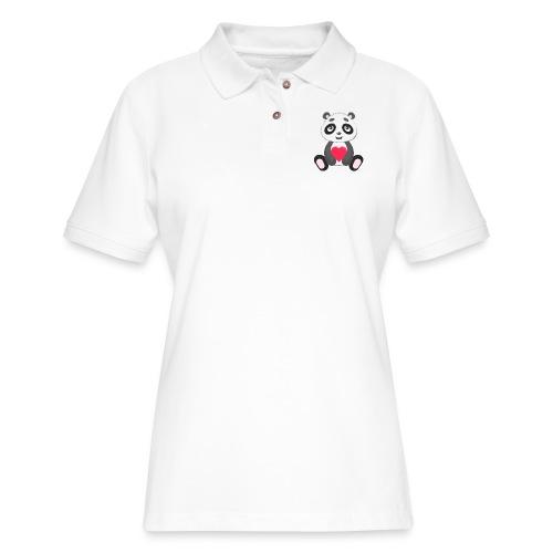 Sweetheart Panda - Women's Pique Polo Shirt