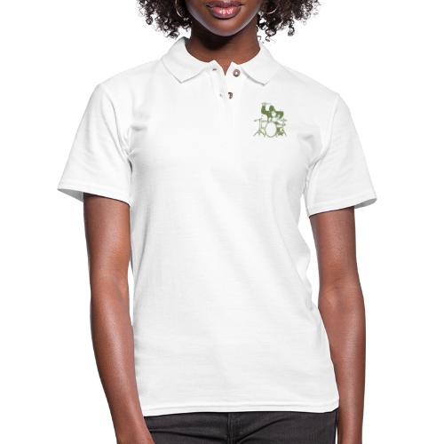 GORILLA PLAYING ON DRUMS - Women's Pique Polo Shirt