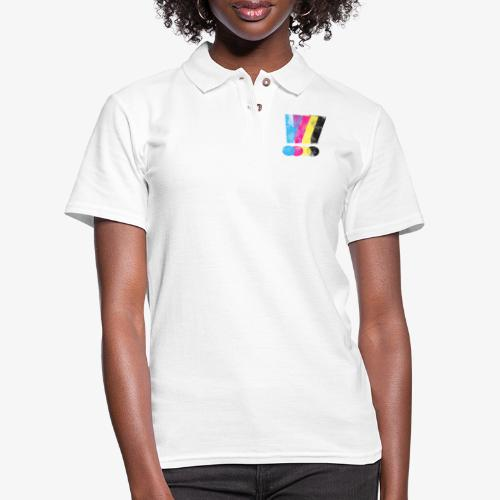Large Distressed CMYW Exclamation Points - Women's Pique Polo Shirt