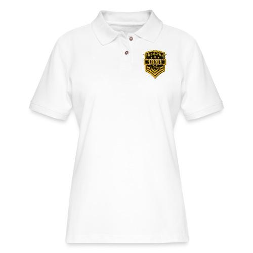 BloodShot ARMYLogo Gold /Black - Women's Pique Polo Shirt