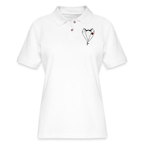 Tuxedo w/Black Lined Lapel - Women's Pique Polo Shirt