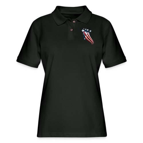 Sweeping American Flag - Women's Pique Polo Shirt