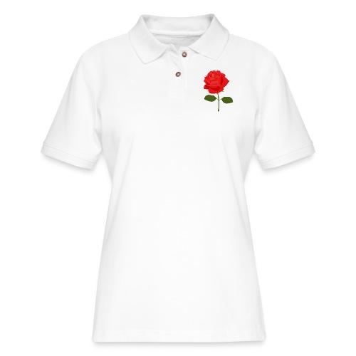 Rose Shirt - Women's Pique Polo Shirt