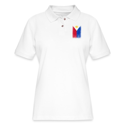 Philippines Filipino Pride Flag Grunge Look - Women's Pique Polo Shirt