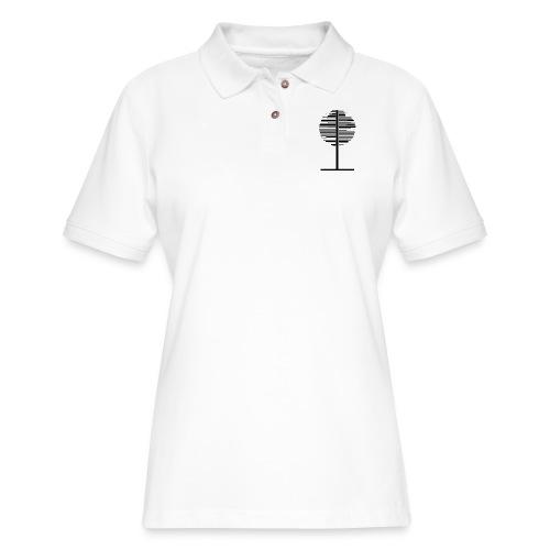 Circle black and white Tree - Women's Pique Polo Shirt