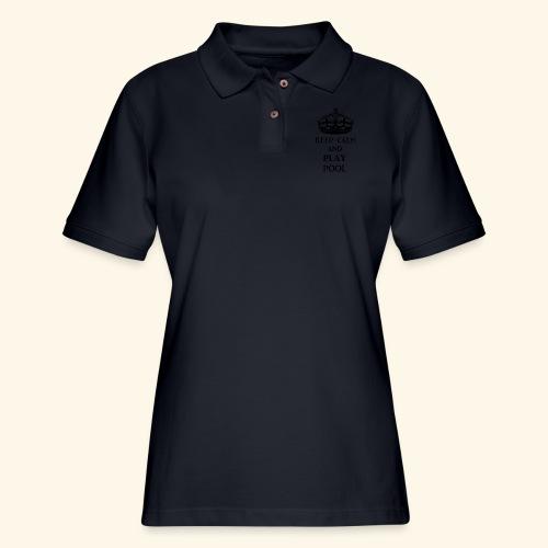keep calm play pool blk - Women's Pique Polo Shirt
