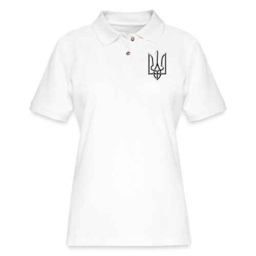 Black and White Trident - Women's Pique Polo Shirt