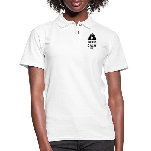 KEEP CALM MONKEY CUSTOM TEXT - Women's Pique Polo Shirt