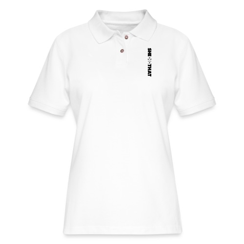 She Did That Large Design - Women's Pique Polo Shirt