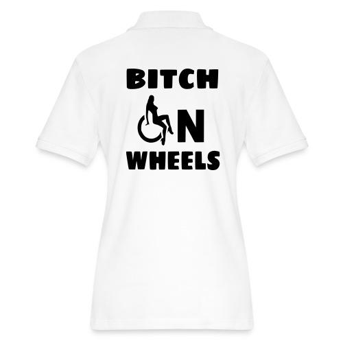 Bitch on wheels, wheelchair humor, roller fun - Women's Pique Polo Shirt