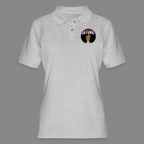 Natural Afro (Pink) - Women's Pique Polo Shirt