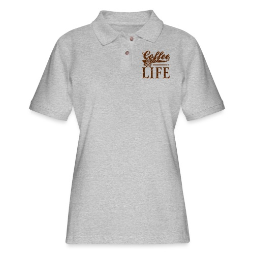 Coffee Is Life Retro Grunge Tee - Women's Pique Polo Shirt