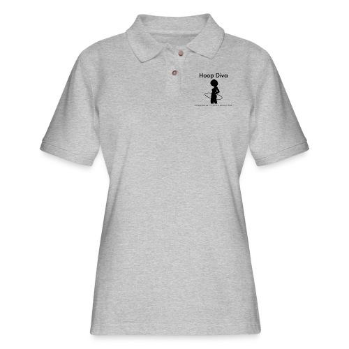 Hoop Diva Black Silhouette - Women's Pique Polo Shirt