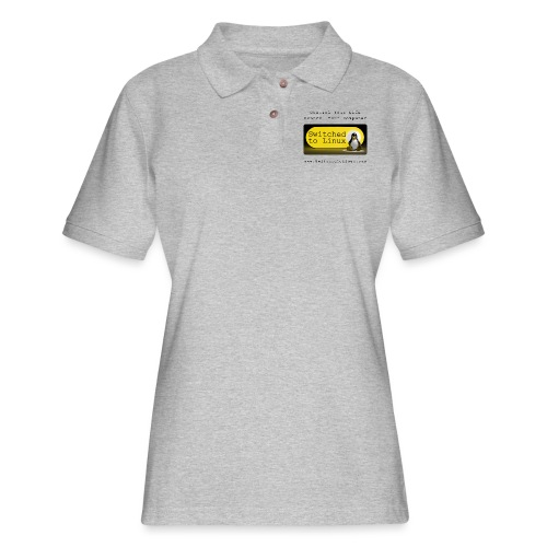 Switched to Linux Logo with Black Text - Women's Pique Polo Shirt
