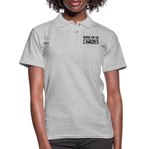 Insane For the Chains Disc Golf Black Print - Women's Pique Polo Shirt