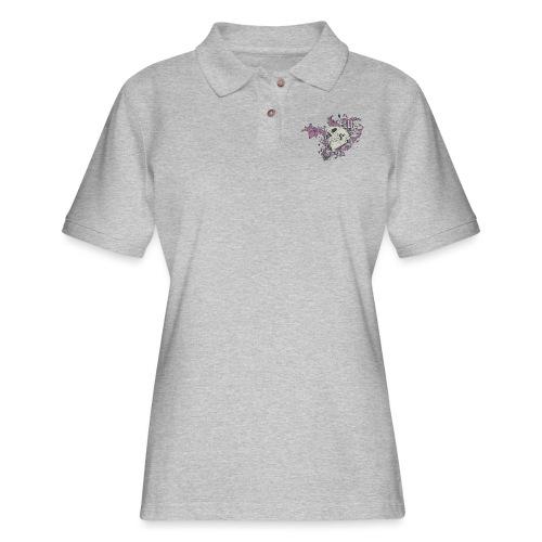 Ornamental Skull Bandana - Women's Pique Polo Shirt