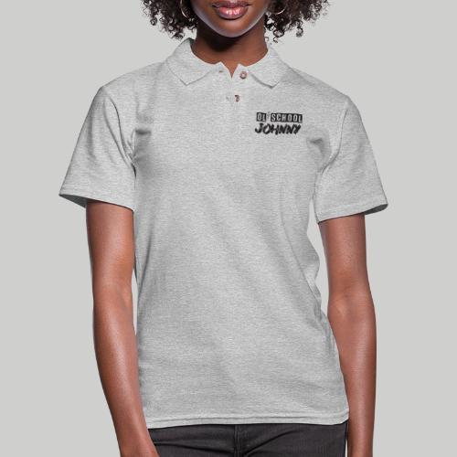 Ol' School Johnny Logo - Black Text - Women's Pique Polo Shirt