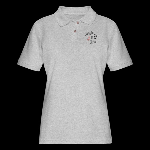 weights and wine - Women's Pique Polo Shirt