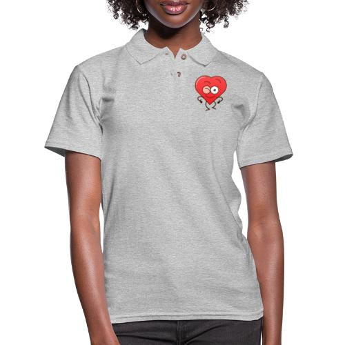 Mischievous heart winking and making thumbs up - Women's Pique Polo Shirt