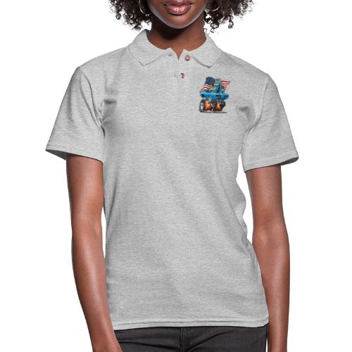 Patriotic Sixties American Muscle Car with Flag - Women's Pique Polo Shirt