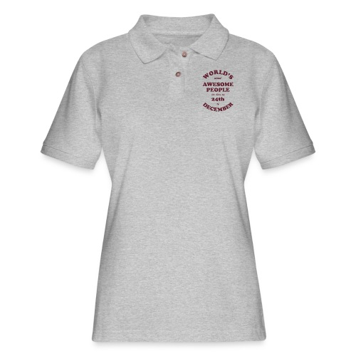 Most Awesome People are born on 24th of December - Women's Pique Polo Shirt