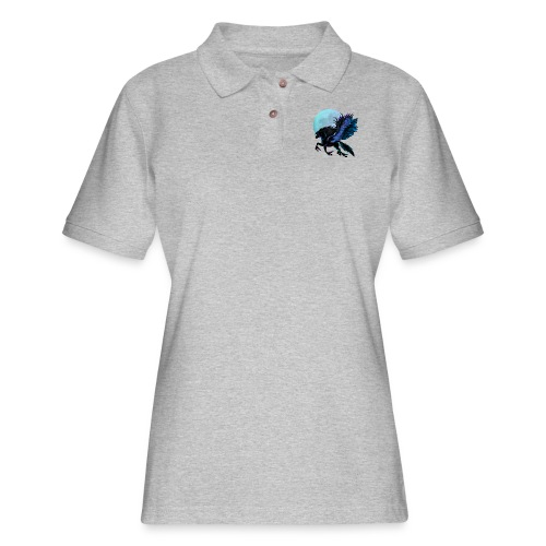Black Pegasus and Blue Moon - Women's Pique Polo Shirt