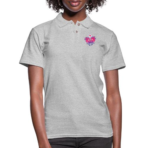 Couple of hearts in love kissing passionately - Women's Pique Polo Shirt