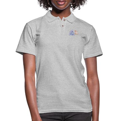 Funny sheep in love running after a terrified wolf - Women's Pique Polo Shirt