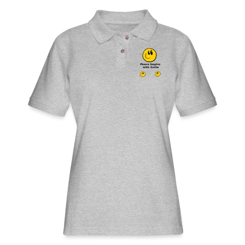 Peace begins with Smile - Women's Pique Polo Shirt