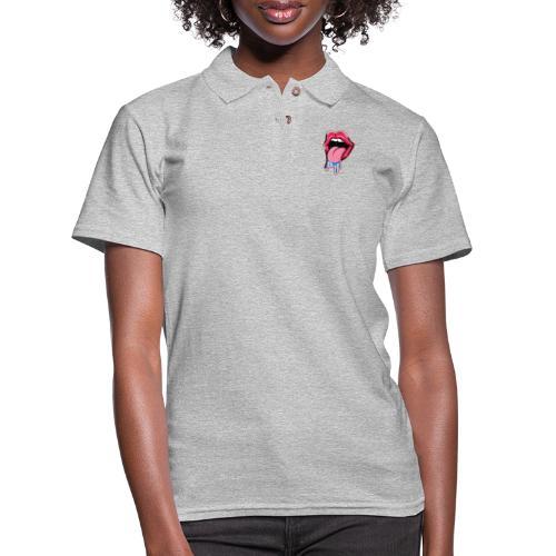 Tongue sticking out cartoon 1 - Women's Pique Polo Shirt