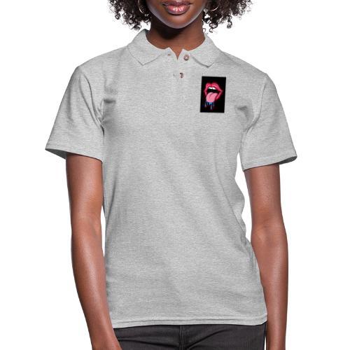 Tongue sticking out cartoon - Women's Pique Polo Shirt