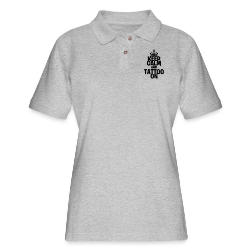 Keep Calm and Tattoo On vector - Women's Pique Polo Shirt