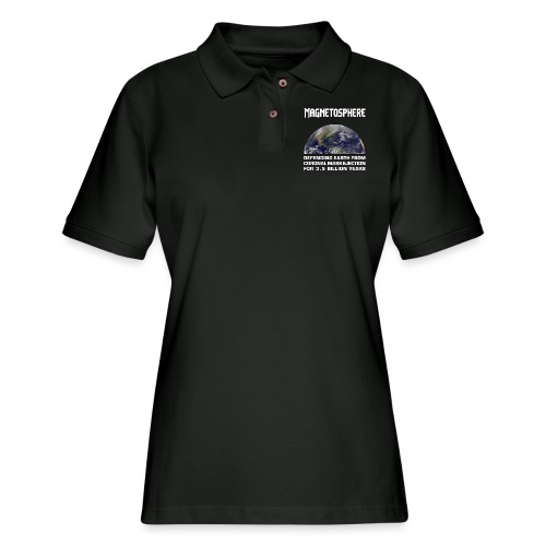 Magnetosphere Defending from Coronal Mass Ejection - Women's Pique Polo Shirt