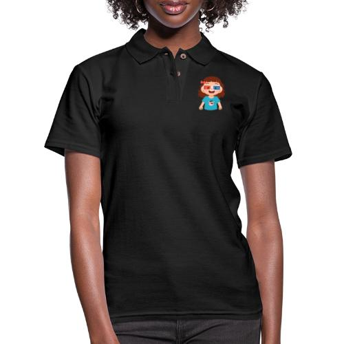 Girl red blue 3D glasses doing Vision Therapy - Women's Pique Polo Shirt