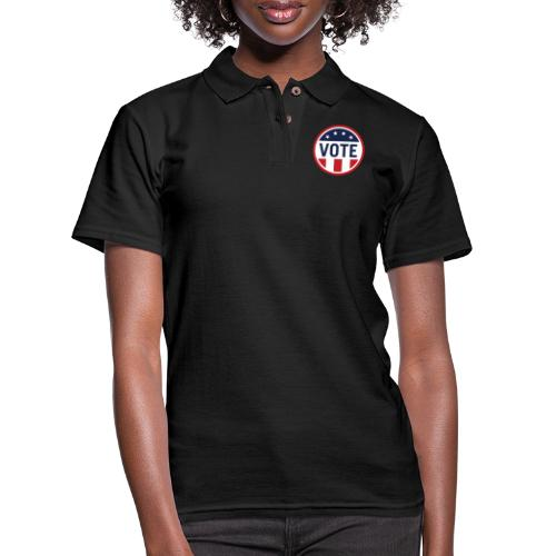 Vote Red White and Blue Stars and Stripes - Women's Pique Polo Shirt
