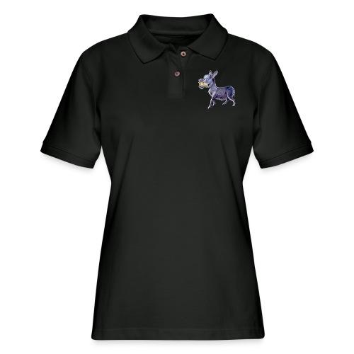 Funny Keep Smiling Donkey - Women's Pique Polo Shirt