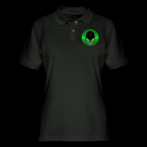 Psychedelic Alien Dolphin Green Cetacean Inspired - Women's Pique Polo Shirt