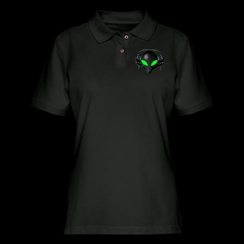 Alien Bug Face Green Eyes in DJ Headphones - Women's Pique Polo Shirt