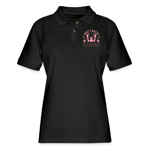 I Beat Cancer Cute Tee - Women's Pique Polo Shirt