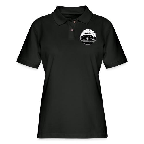 Retro Hot Rod Grungy Sunset Illustration - Women's Pique Polo Shirt