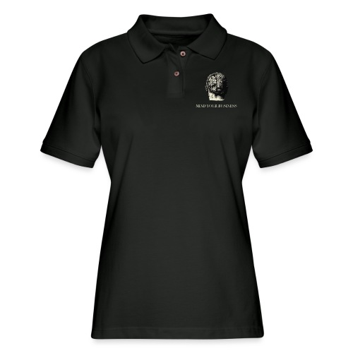 Mind Your Business Tee (V-Neck Unisex) - Women's Pique Polo Shirt