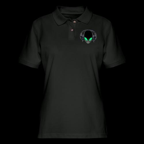 Alien Music Lover DJ (Simplified Fit All Design) - Women's Pique Polo Shirt