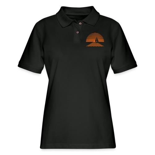 Sunset Sailboat - Women's Pique Polo Shirt